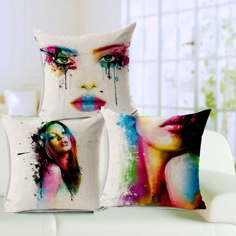 Creative Art Paint Sofa Cushion Covers Colorful Body Painting Beauty Throw Pillows Cases 45x45cm
