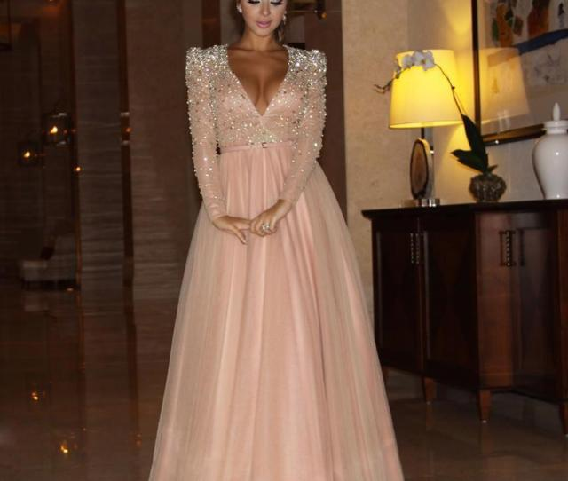 Myriam Fares Long Sleeve Celebrity Dresses A Line Deep V Neck With Beaded Top Padded Shoulder And Tulle Skirt Celeb Inspired Clothing Celebrities Dresses