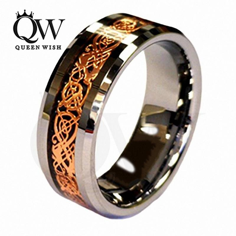 2019 mens engagement rings infinity wedding rings jewelry 18k rose gold plated celtic dragon 8mm tungsten carbide wedding band ring men s jewelry from