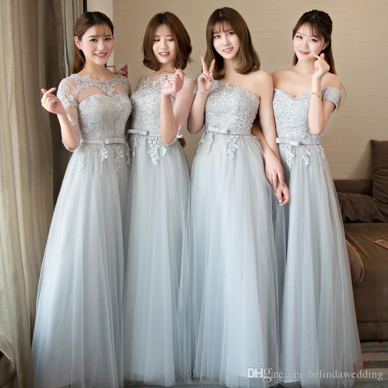 Elegant Silver Gray Junior Bridesmaid Dresses Lace Appliqued Wedding     Elegant Silver Gray Junior Bridesmaid Dresses Lace Appliqued Wedding Guest  Bridesmaids Dress Long Sheer Back Zipper Chiffon Cheap Formal Gow  Bridesmaids