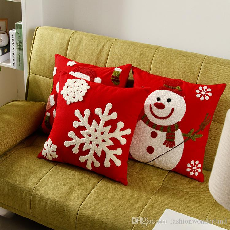 acheter festival de noel canape housses de coussin cases snowman pillow covers snowflake pere noel oreillers decoration de voiture bureau decor enfants