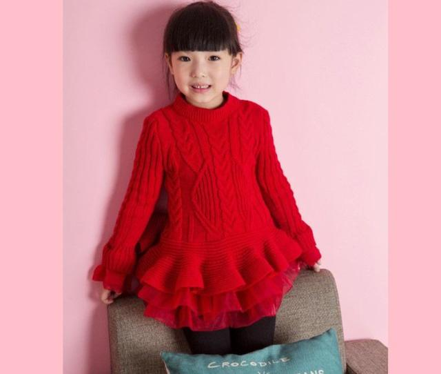 Winter Kids Sweater Dress Pullover Childrens Girls Sweater Tutu Dress Round Neck Knitted Sweater Dress With Lace Shrugs Girl From Funny