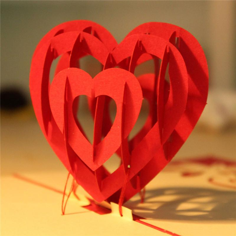 High Quality Paper Red 3d Heart Pop Up Cards Birthday Love