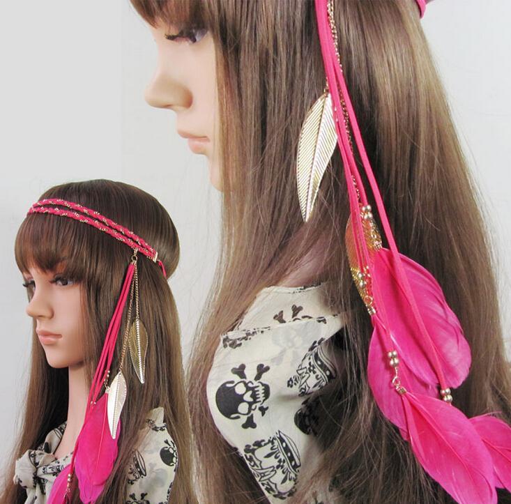 2018 Indian Peacock Feather Headband Women Tassels Weave