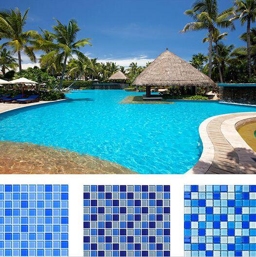 2021 blue color glass mosaic tiles for
