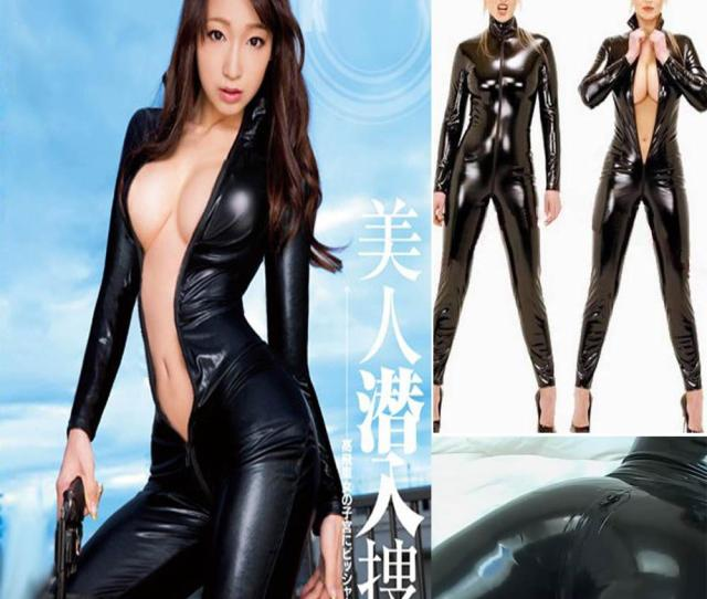 2019 2015 Sexy Zip Erotic Spandex Stretch Bodysuit Women Jumpsuit Pvc Faux Leather Outfit Lingerie Hot Night Ds Wear 10322 From Hexins 34 16 Dhgate Com