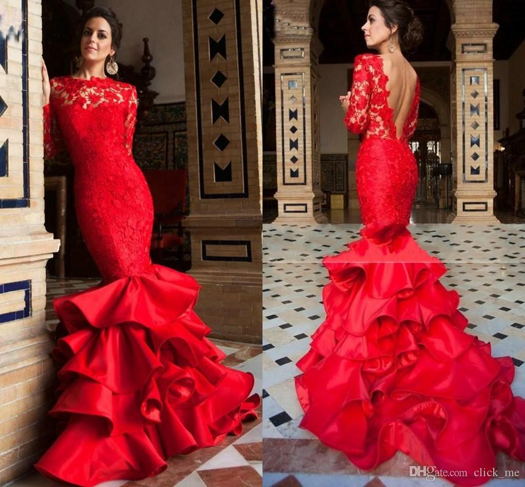 Red Lace Prom Dresses Mermaid 2016 Latest Amazing Layered