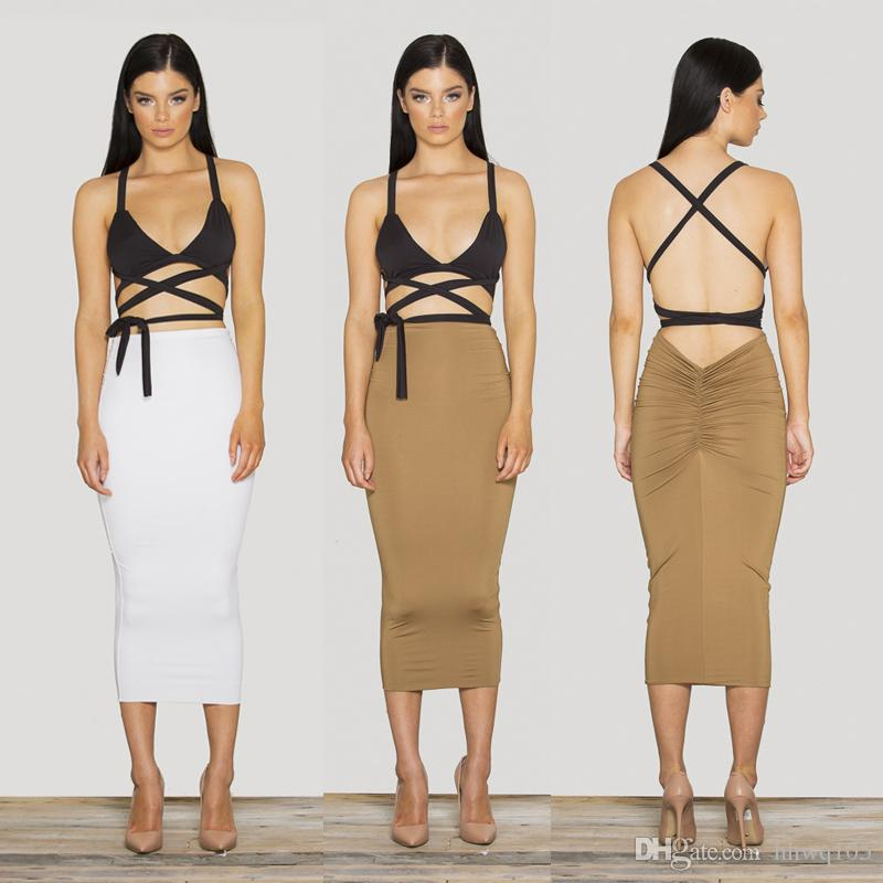 2016 Two Piece Club Dress Outfit Strappy Triangle Top High Waist ...