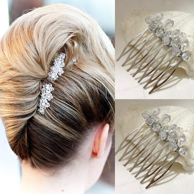 bridal hair combs small simple elegant two peices cystal glass beads side wedding comb accessories bridesmaid prom headpieces vintage inspired accessories