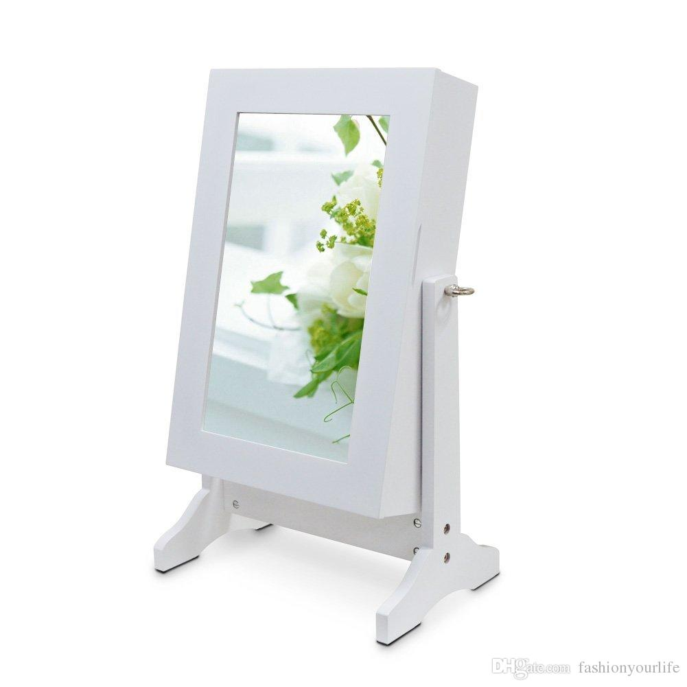 Wood Table Top Jewelry Box Mirror Jewelry Cabinet Free