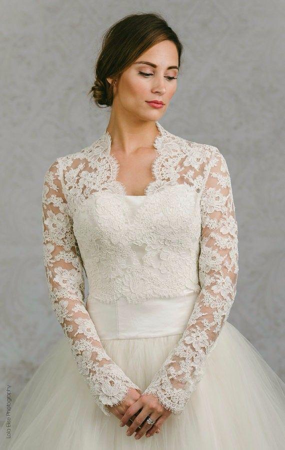 Lace Long Sleeve Bridal Bolero 2016 Custom Made Ivory V