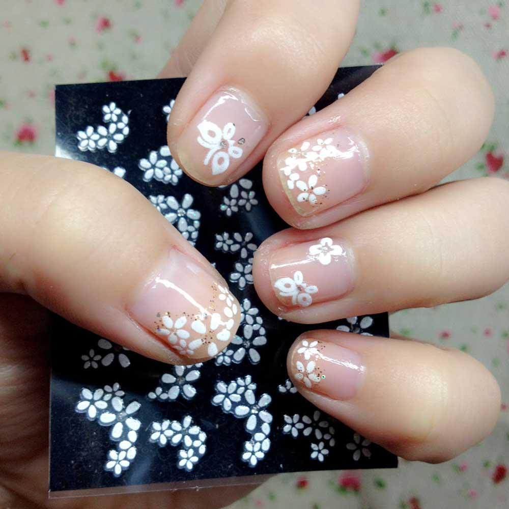 30 Sheets Floral Design 3d White Nail Art Stickers Decals