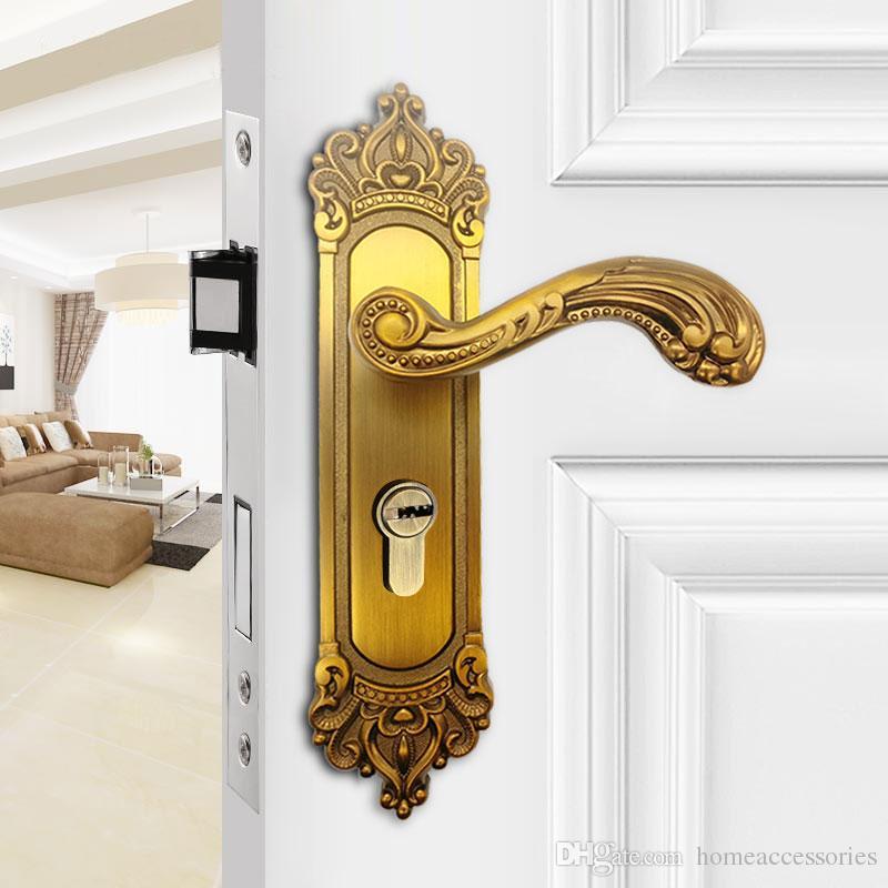 european style door locks yellow bronze retro furniture bedroom