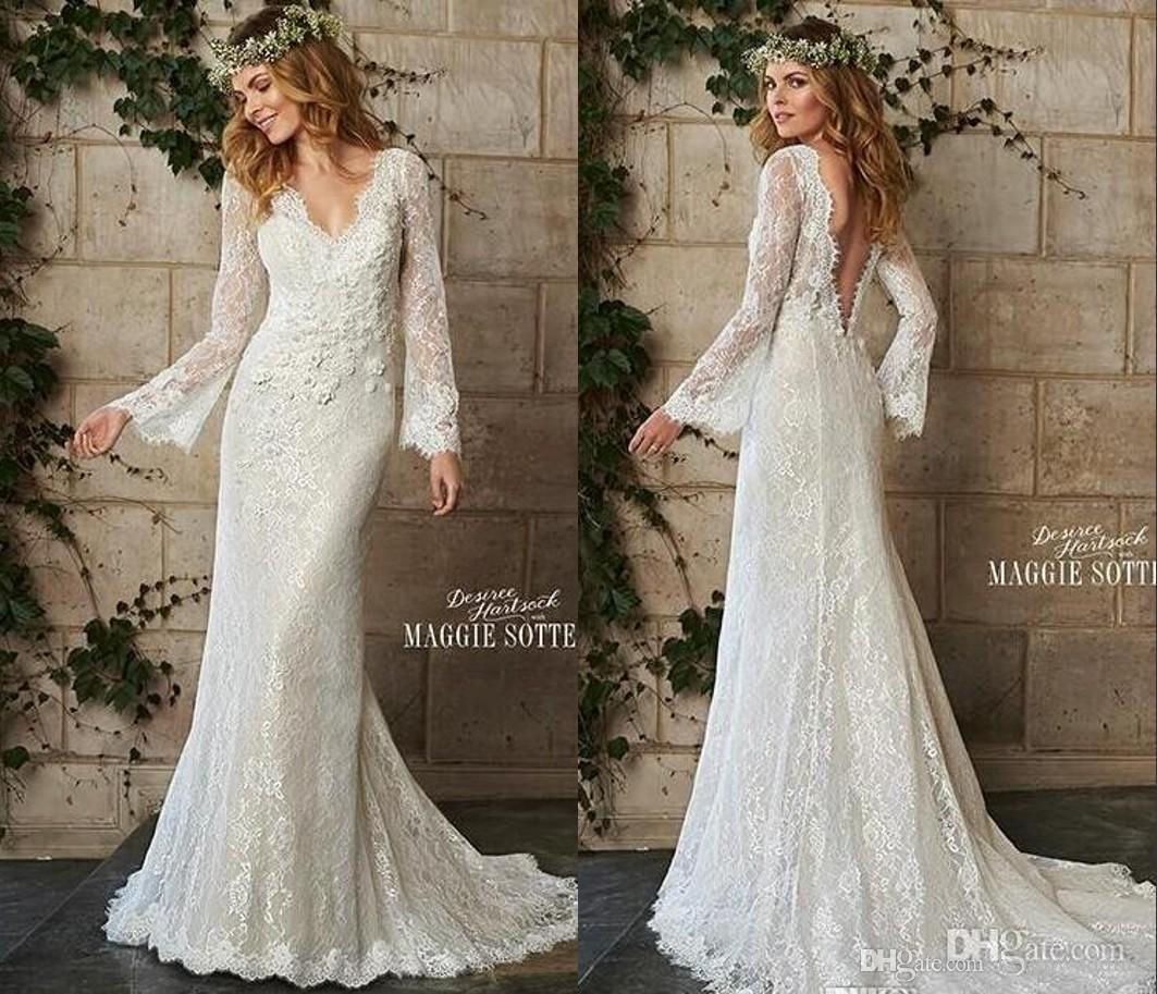 Discount A Line Bohemian Style Wedding Dresses Vintage
