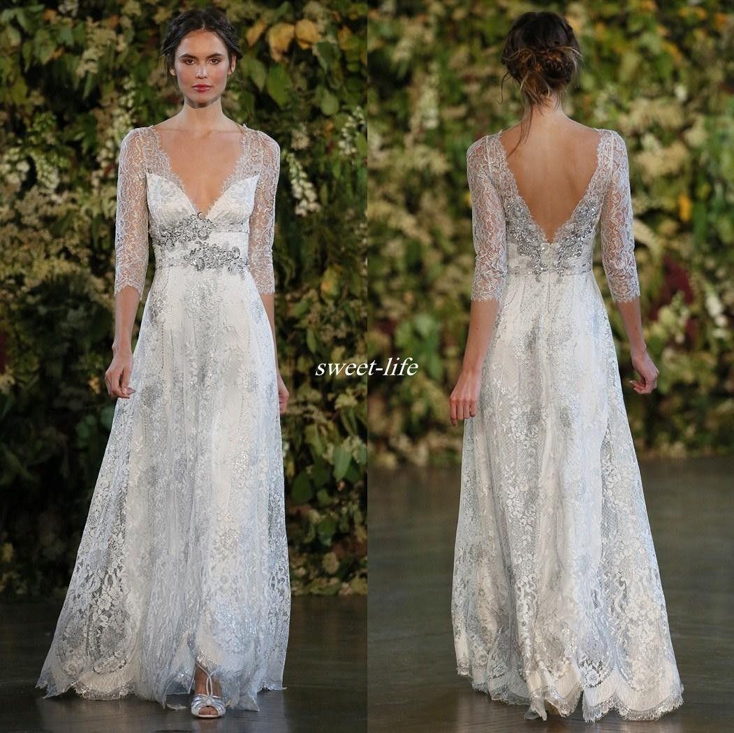 Vintage Silver Lace Wedding Dresses A Line Plunging V