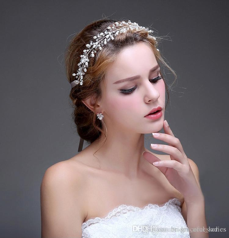 wholesale wedding hair accessories hairband women clear beads silver gold no fading copper wire wedding jewelry cheap tiaras custom made