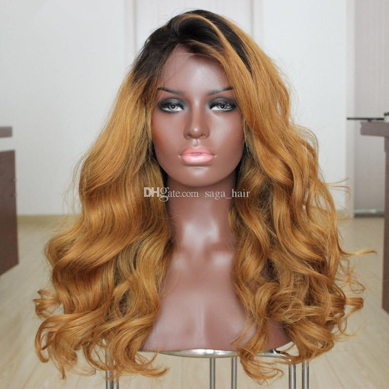 SideMiddle Part Honey Blonde Ombre Full Lace Wig Two Tone