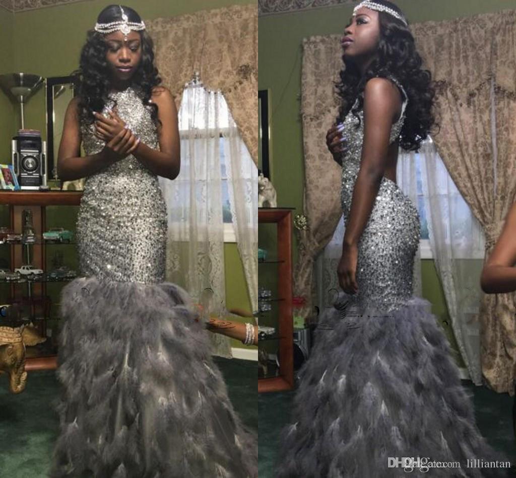 Luxury Mermaid Fur Prom Dresses 2017 Rhinestone Crystal