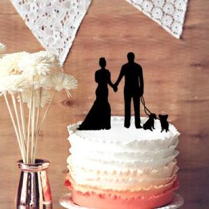 Custom Wedding Cake Topper  Celebrate With Your Pets Wedding Cake     Custom Wedding Cake Topper  Celebrate With Your Pets Wedding Cake Topper   Groom And Bride With Pets Wedding Cake Topper Popular Wedding Favors Purple
