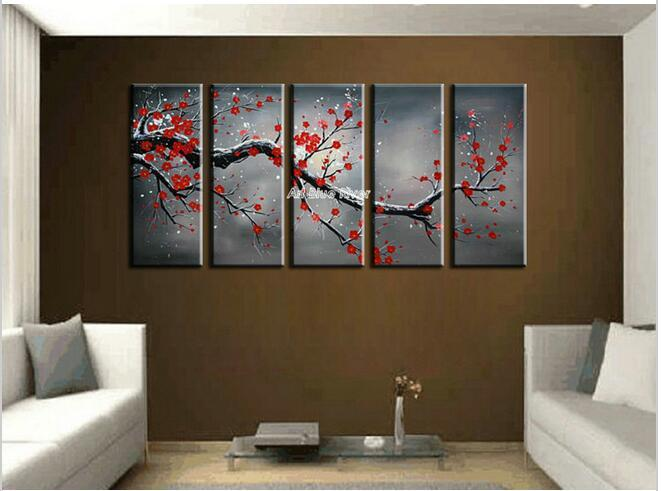 2018 Canvas Wall Art Cheap Abstract Wall Decor Red Cherry Blossom     2018 Canvas Wall Art Cheap Abstract Wall Decor Red Cherry Blossom Handmade  Picture Oil Painting Set Supplies Home Decoration From Whywhy009
