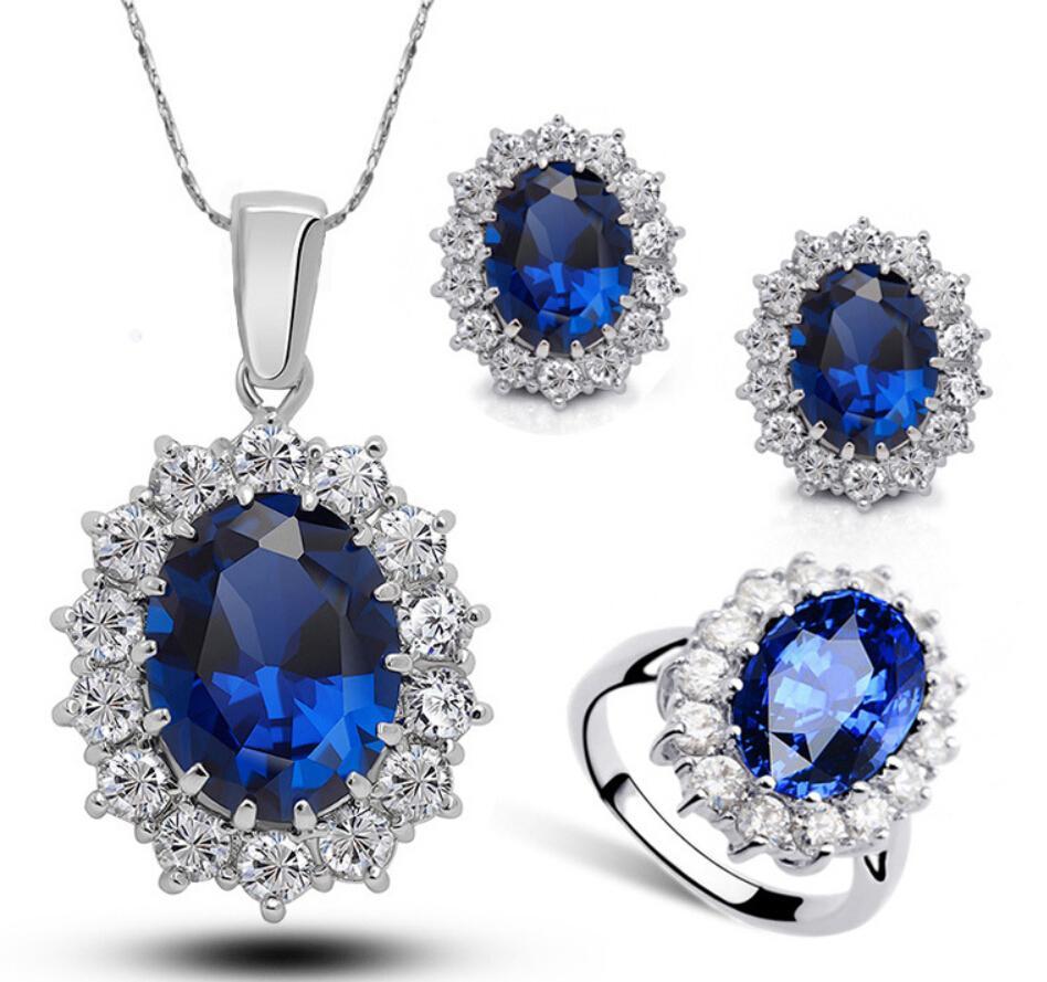 2019 Princess Diana Kate Royal Wedding Ring Blue Sapphire