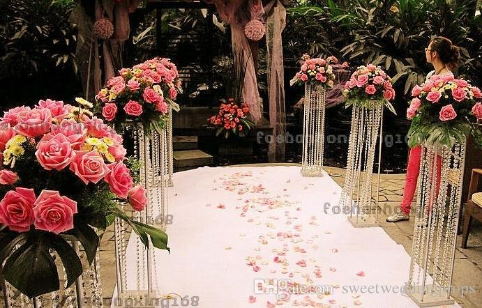 Acrylic Crystal Wedding Decoration Metal Stand Centerpiece