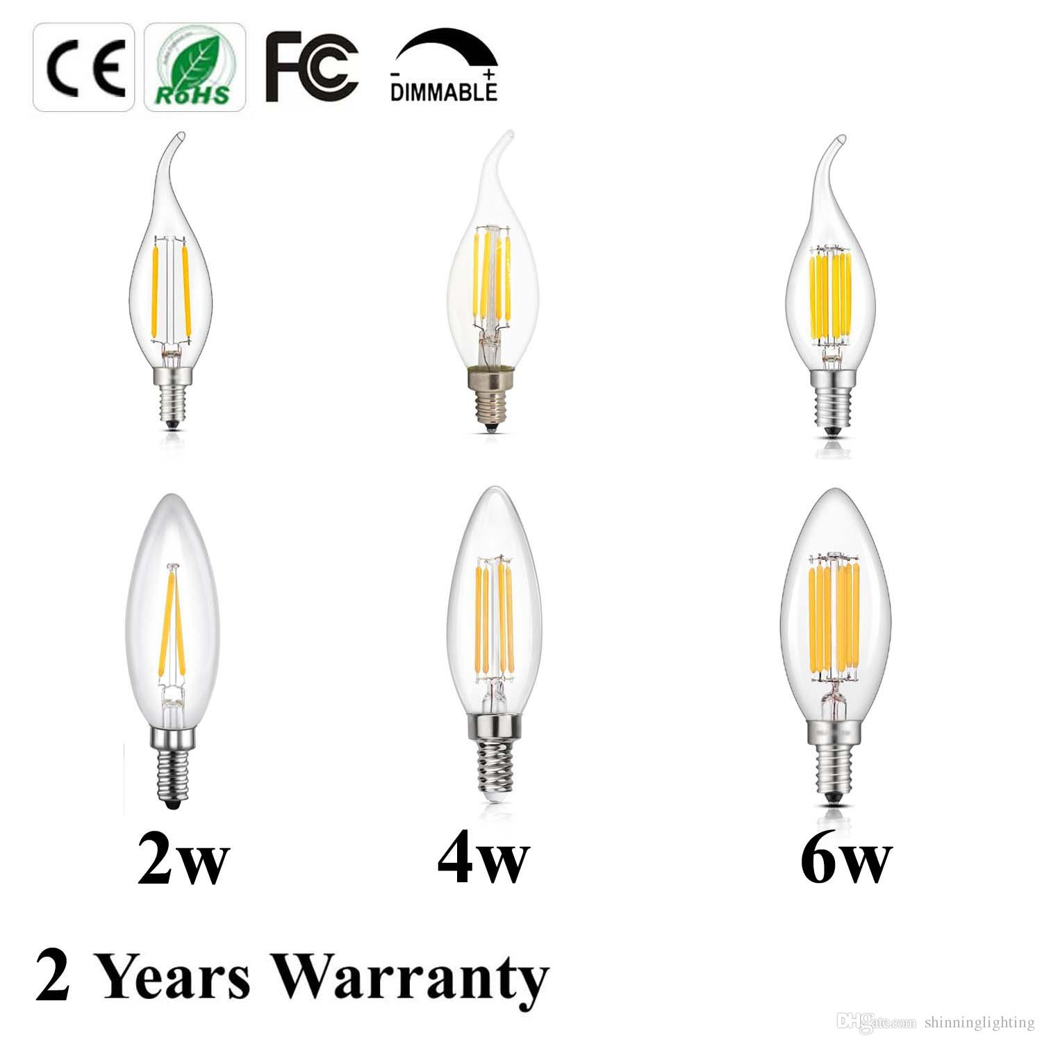 Led Bulb C35 C35l E12 E14 Ses Candelabra Base 2 4 6w Dimmable Cob Led Filament Flame Tip Vintage