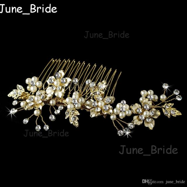 rose gold silver bridal comb handmade hot sell free shipping crystal pearl wedding hair accessories hair combs headpieces jewelry real photo
