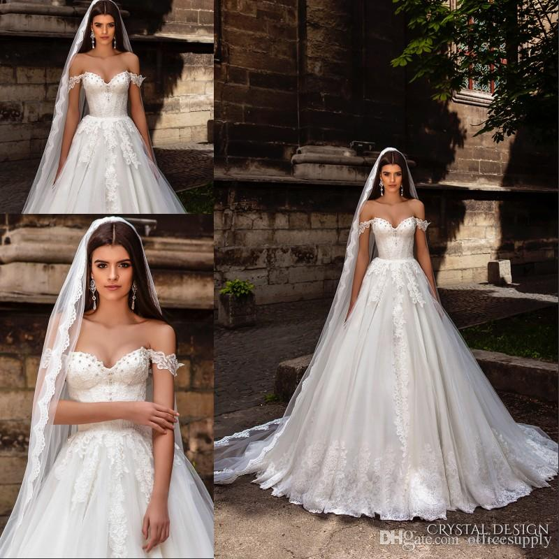 discount crystal design bridal gowns 2018 off the shoulder bustier heavily lace embellished bodice princess a line ball gown wedding dresses grecian wedding