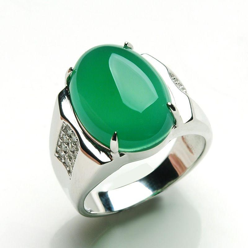 Jade Jade Jade Ring Banzhi Ring 925 Silver Men Men