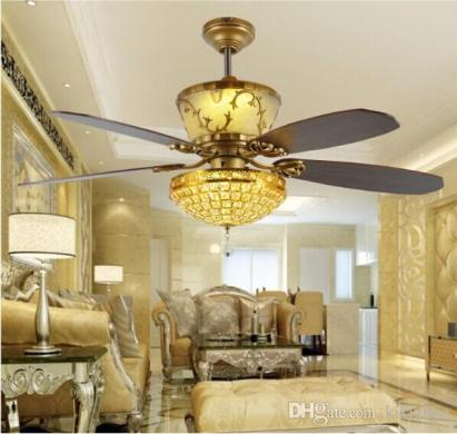 Remote Control Ceiling Fans 52inch Luxury Decoration Restaurant     Remote Control Ceiling Fans 52inch Luxury Decoration Restaurant Living Room  Hall Fan Light Crystal LED Fan Ceiling Light Crystal Ceiling Fan Lights  Crystal