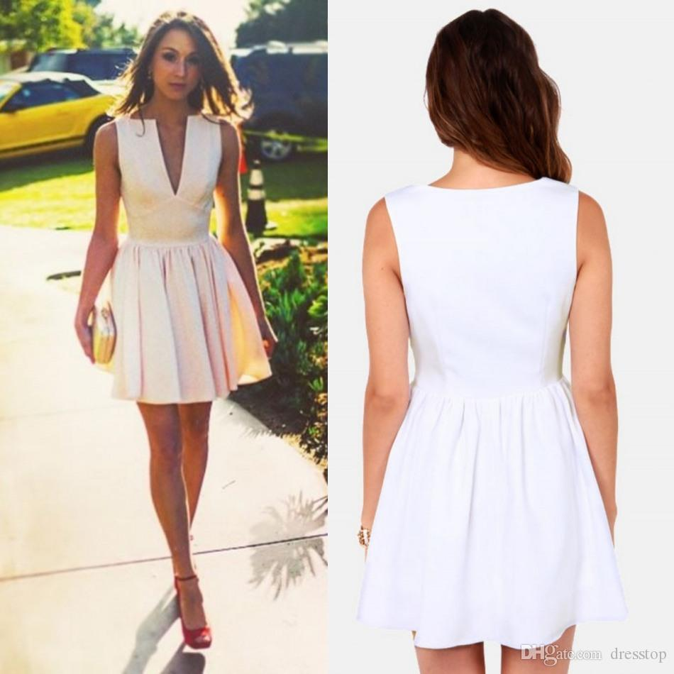 Charming White Party Dresses For Women A Line Plunging