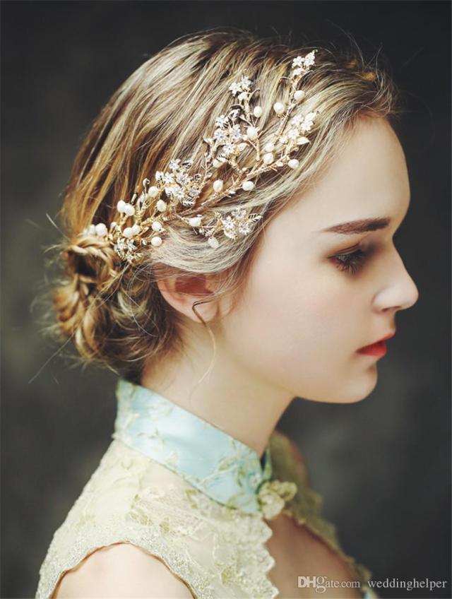 vintage wedding bridal headpiece crystal rhinestone hair accessories freshwater pearl hair pins headband crown tiara princess queen jewelry