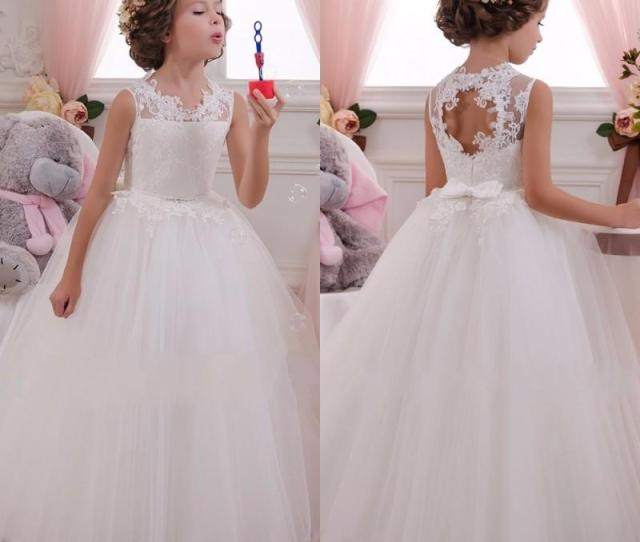 Lovey Holy Lace Princess Flower Girl Dresses  Ball Gown First Communion Dresses For Girls Sleeveless Tulle Toddler Pageant Dresses Flower Girls Dresses