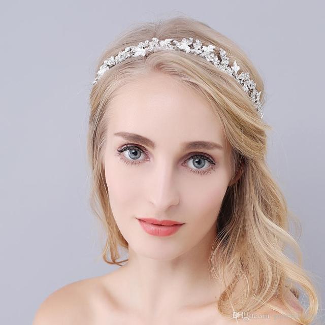 crystal headband wedding hair accessories bridal rhinestone hair clips headpiece forehead jewelry tiara for bride rhinestone hair barrette