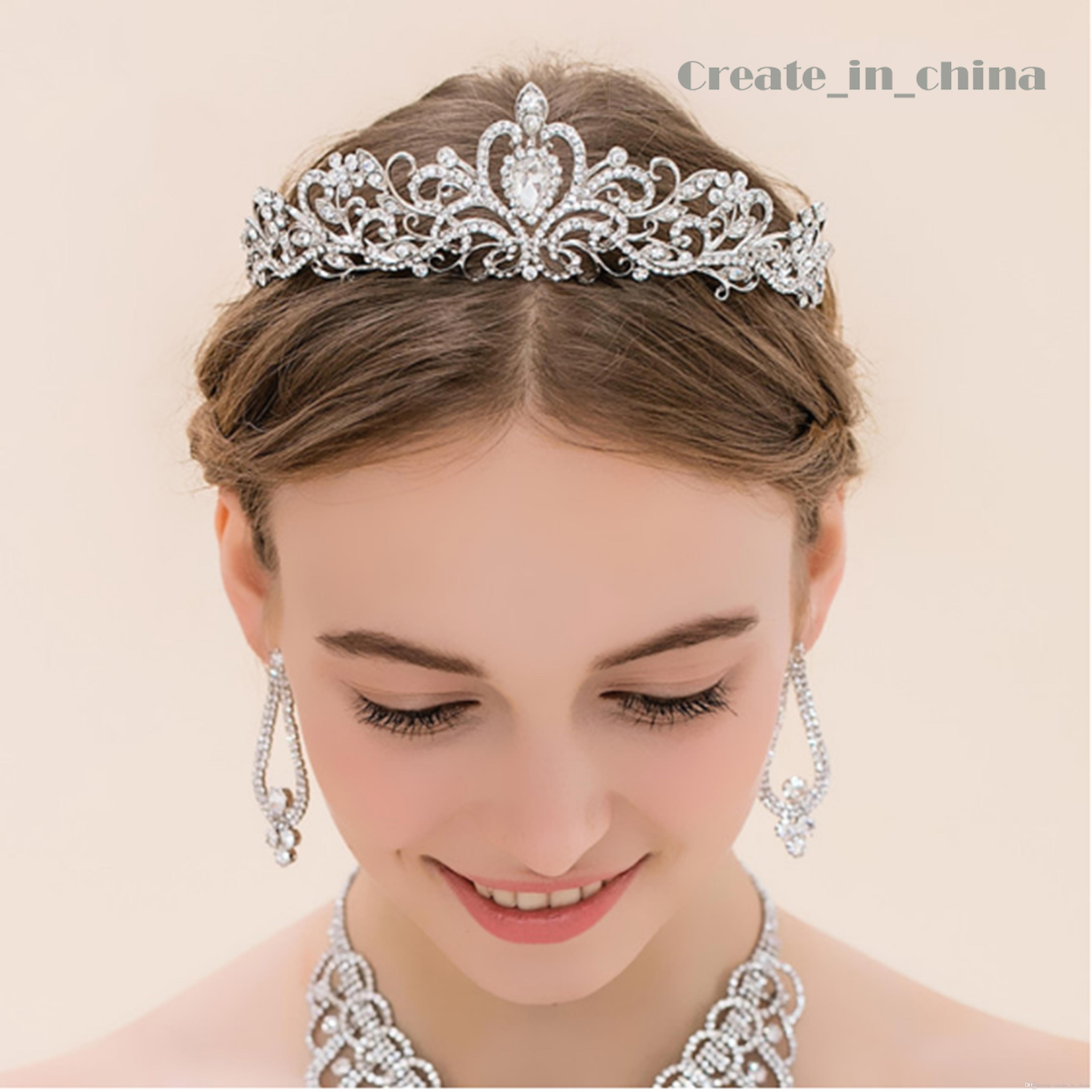 2016 vintage crystal tiara bridal hair accessories for wedding quinceanera tiaras and crowns pageant rhinestone crown full crystal c1001 decorative hair