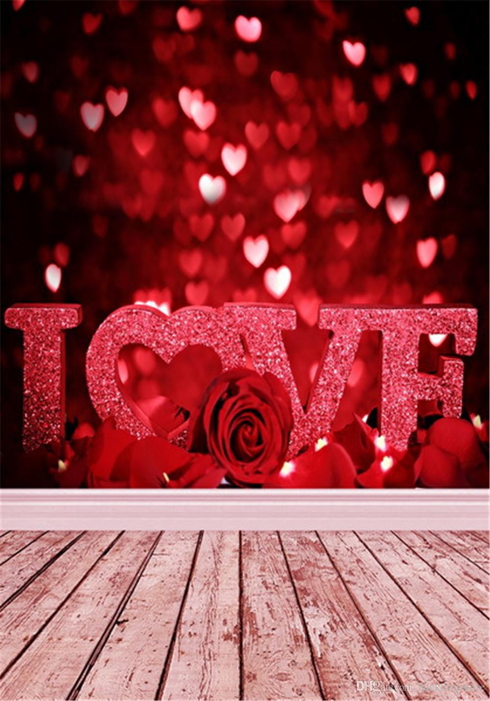 2018 Sparkle Love Hearts Red Bokeh Backdrops Romantic