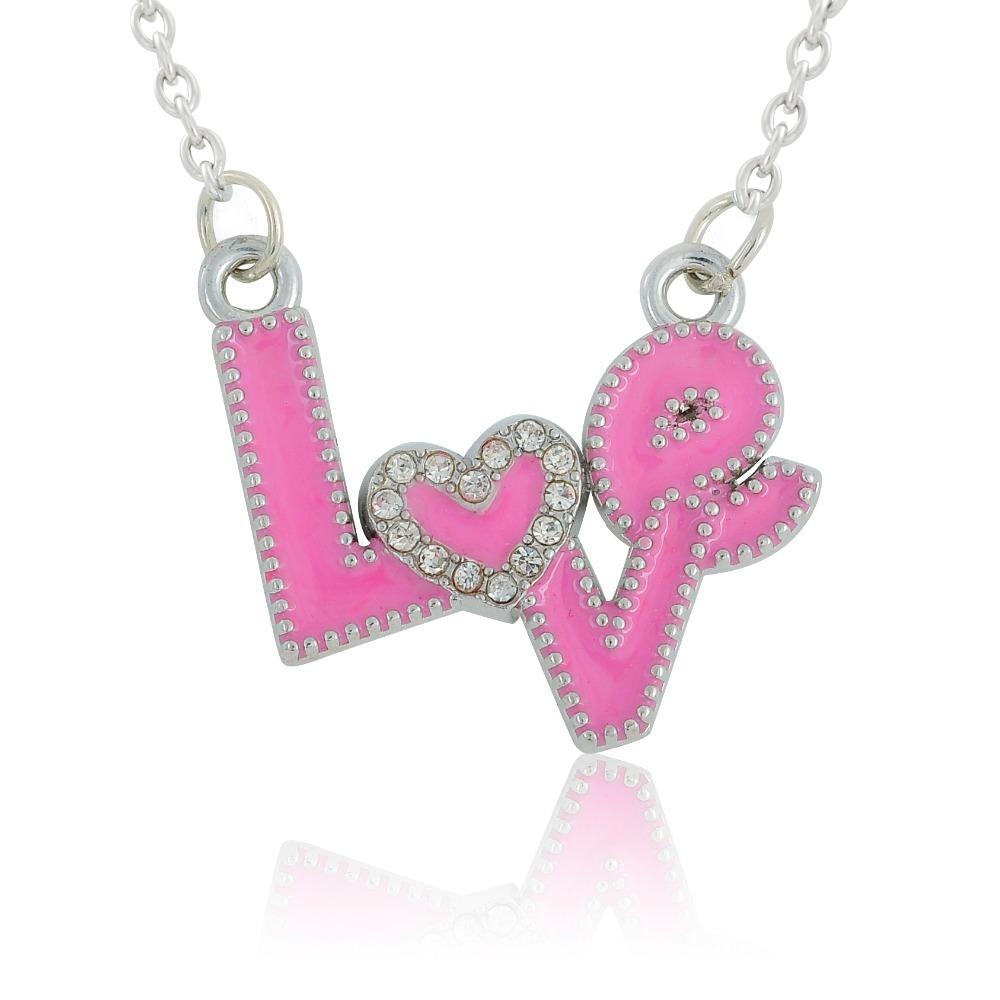 Wholesale Pink Enamel Cute Heart Love Amor Necklace