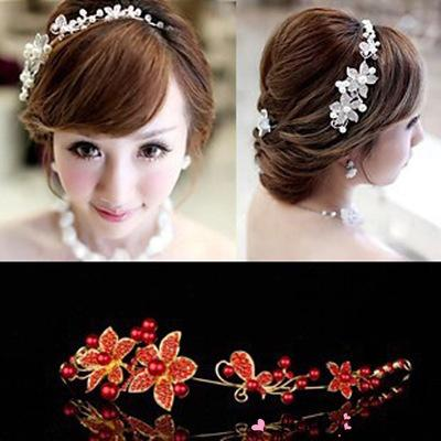 new high quality handmade headdress with pearl wedding accessories flower bride pearl lace hair