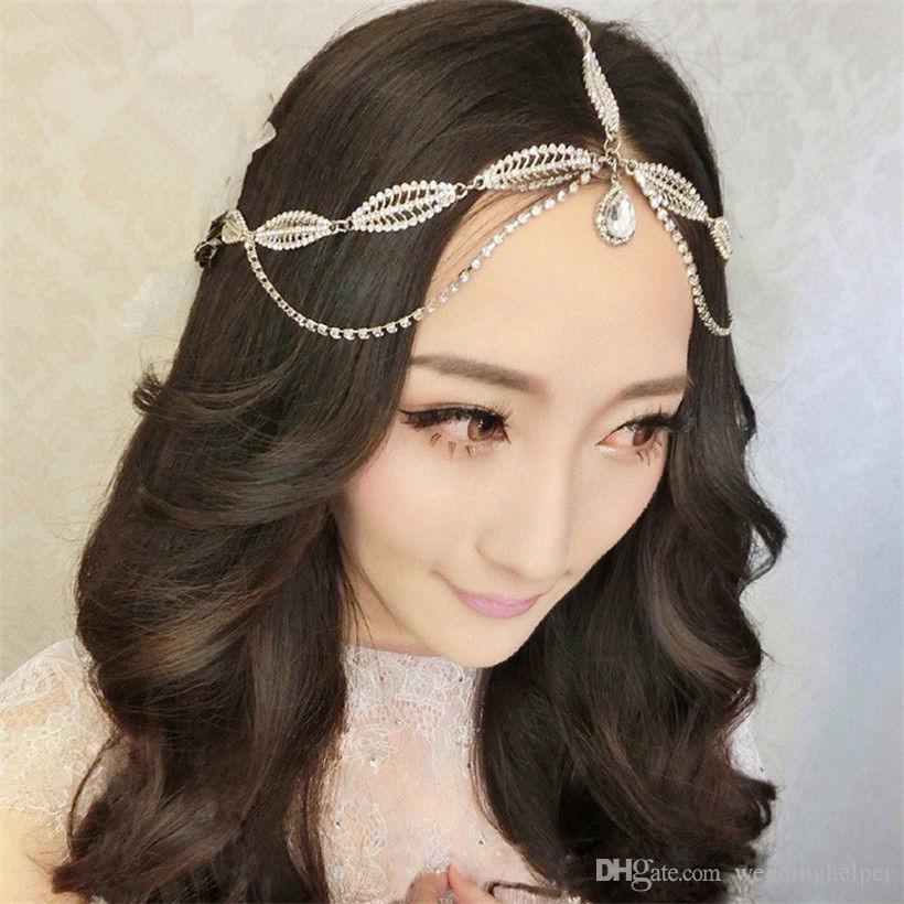 indian wedding headband forehead hair chain jewelry vintage crystal rhinestone hair accessories princess crown tiara queen headdress silver