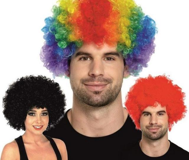 Men Lady Clown Fans Carnival Wig Disco Circus Funny Fancy Dress Party Stag Do Fun Joker Adult Child Costume Afro Curly Hair Wig Party Props From