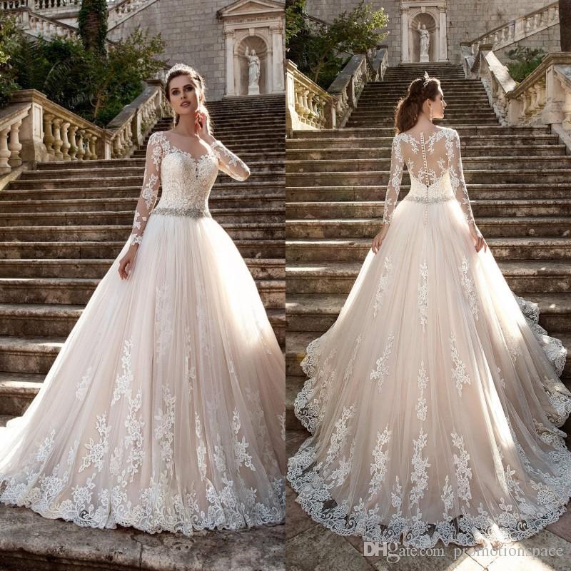 Discount Vestido De Noiva Vintage Long Sleeves Wedding