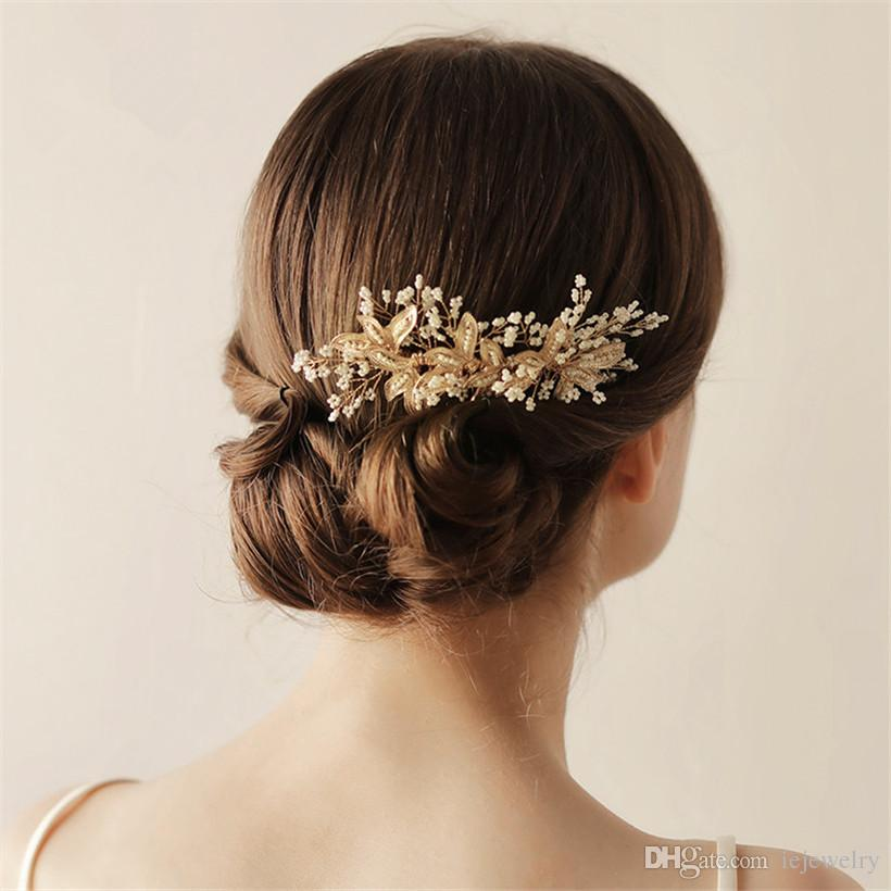 vintage wedding bridal hair comb headpiece gold crystal rhinestone tiara crown hair accessories leaf headband clips jewelry princess pins