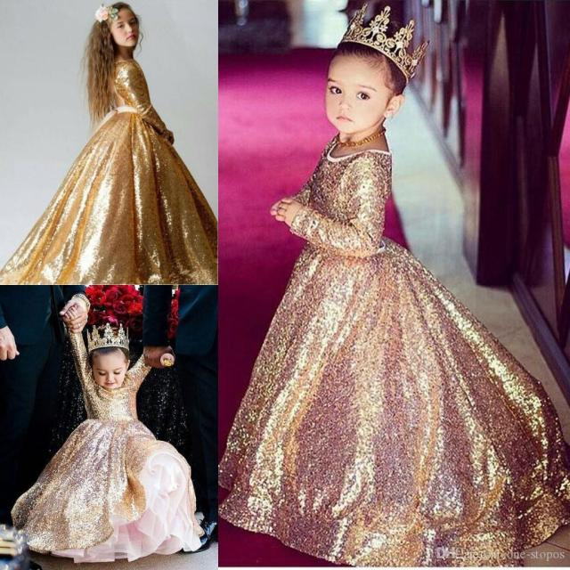 gold sequin toddler ball gowns girls pageant dresses jewel long sleeves formal kids party gown flower girl dresses for weddings