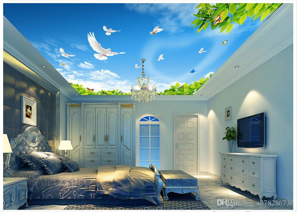 3d Wallpaper Custom 3d Ceiling Murals Wallpaper Mural Blue Sky White     3d Wallpaper Custom 3d Ceiling Murals Wallpaper Mural Blue Sky White Clouds  Green Leaves White Pigeons Ceiling Roof Background Wall Murals Wallpapers