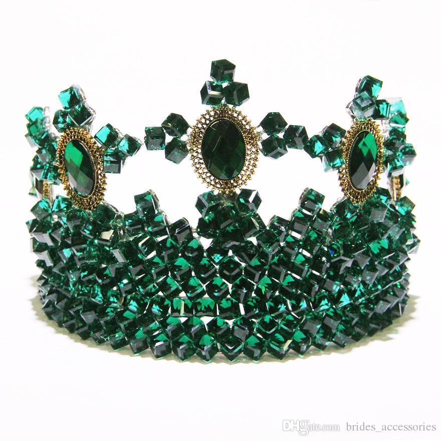 deark green bridal crown tiaras hair accessories gorgeous crystal wedding bridaltiaras exaggerated red pageant crown tiaras big designer wedding hair