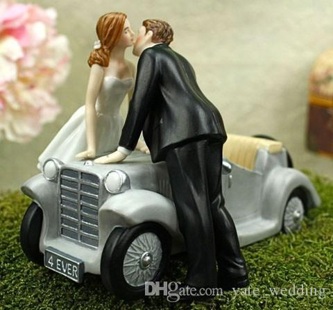 2016 Creative Wedding Cake Toppers With Retro Wedding Car Wedding     2016 Creative Wedding Cake Toppers With Retro Wedding Car Wedding Couple  Kiss Wedding Supplies In Stock Used Wedding Decorations Wedding Decorations  Ideas
