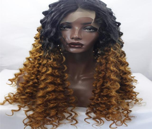 Lace Front Wigs Curly Hair Best Quality Synthetic Ladys Hair Wig Two Tone Black Blonde Body Wave Synthetic Lace Front Wig For Black Wo Womens Wigs Yaki