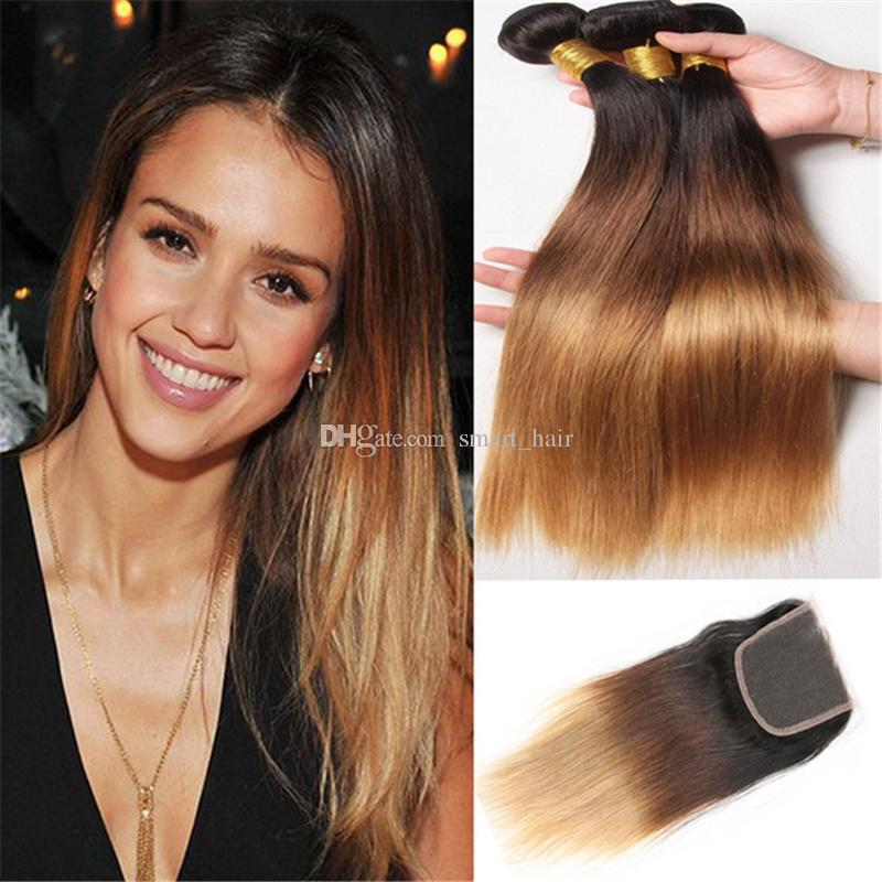 Honey Blonde Brazilian Ombre Straight Hair Bundles With