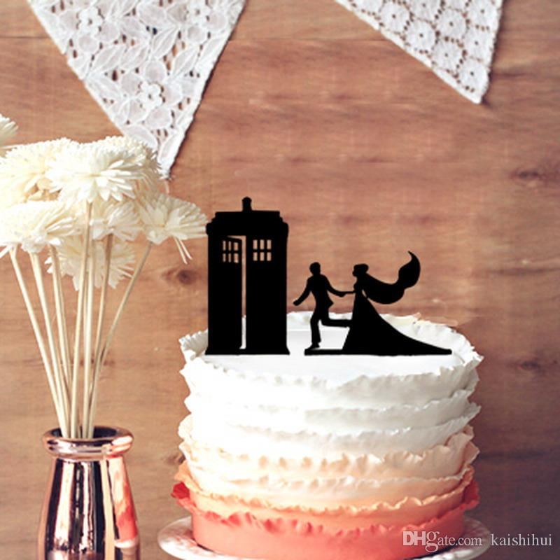 Romantic Wedding Doctor Who Cake Toppers   Bride And Groom Wedding     Romantic Wedding Doctor Who Cake Toppers   Bride And Groom Wedding TARDIS  Silhouette Cake Stand for Anniversary Vow Renewal Wedding TARDIS Wedding  Doctor